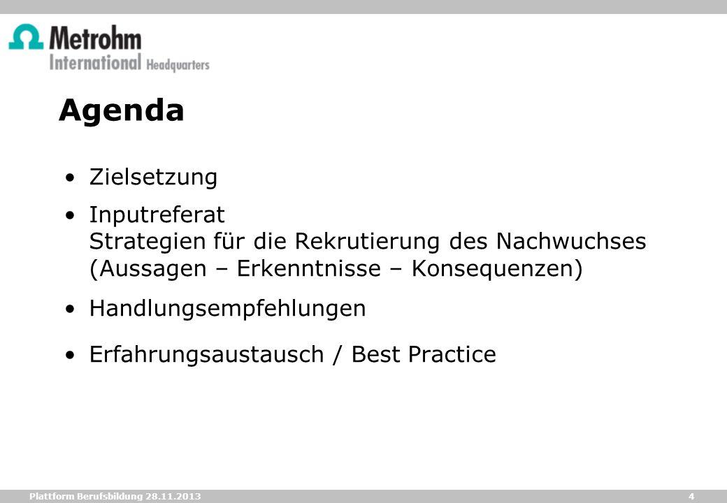 4 Plattform Berufsbildung 28.11.2013 Agenda Zielsetzung Inputreferat Strategien für die Rekrutierung des Nachwuchses (Aussagen – Erkenntnisse – Konseq