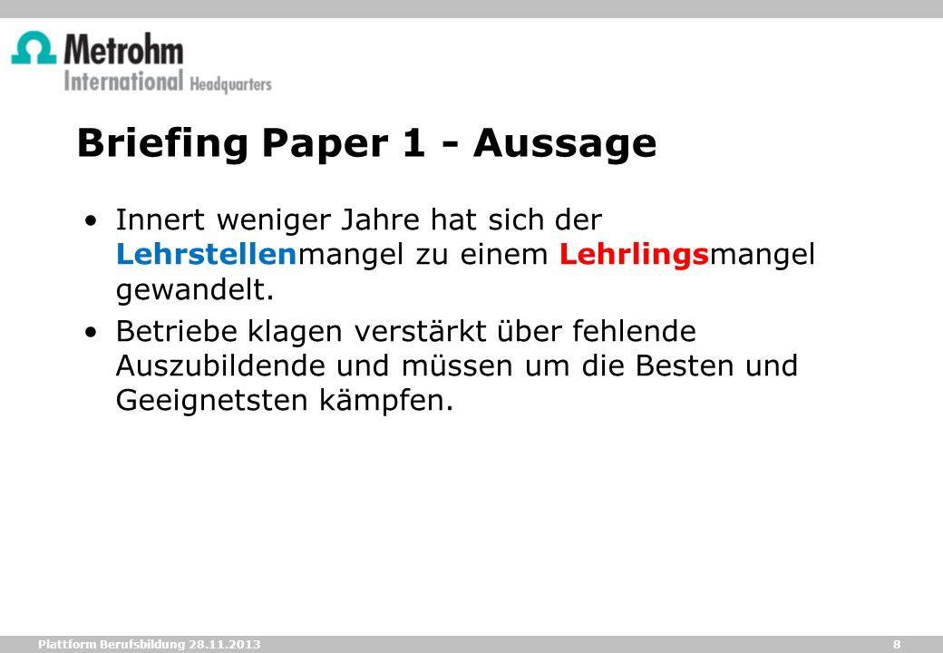 8 Plattform Berufsbildung 28.11.2013 Briefing Paper 1 - Aussage Innert weniger Jahre hat sich der Lehrstellenmangel zu einem Lehrlingsmangel gewandelt