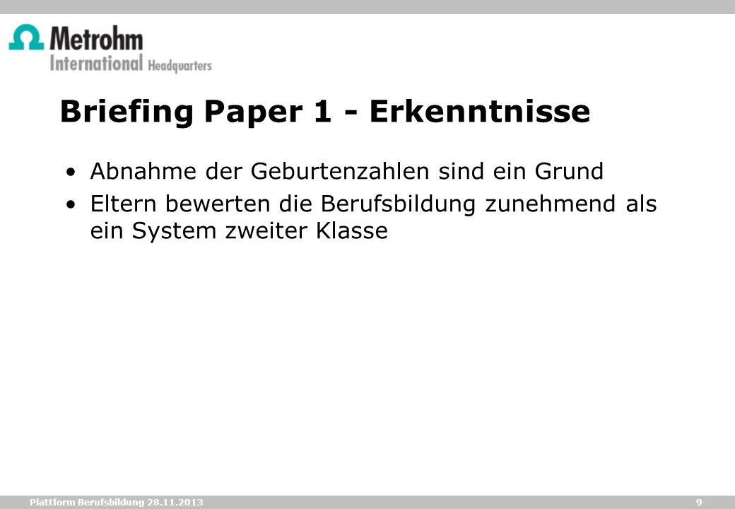 9 Plattform Berufsbildung 28.11.2013 Briefing Paper 1 - Erkenntnisse Abnahme der Geburtenzahlen sind ein Grund Eltern bewerten die Berufsbildung zuneh