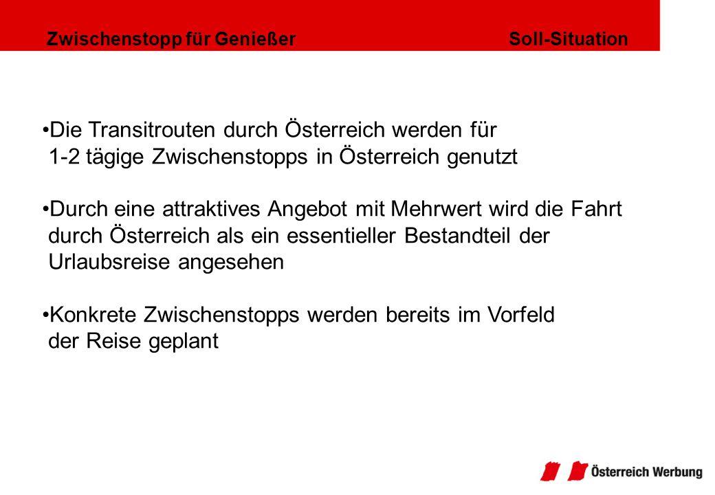 Zwischenstopp für Genießer Soll-Situation Die Transitrouten durch Österreich werden für 1-2 tägige Zwischenstopps in Österreich genutzt Durch eine att