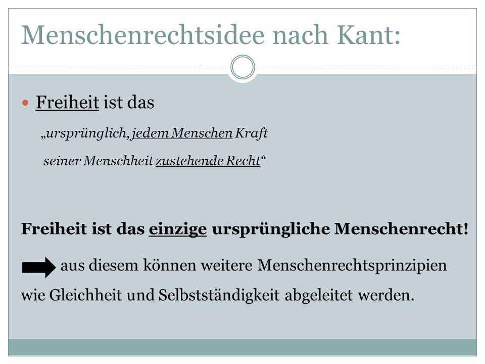 Menschenrechtsidee nach Kant: Freiheit ist das ursprünglich, jedem Menschen Kraft seiner Menschheit zustehende Recht Freiheit ist das einzige ursprüng