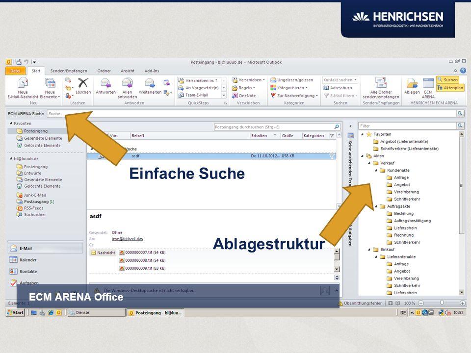 Kann mit eingeblendetem Aktenplan vollständig und intuitiv per Drag&Drop klassifizieren. ARENA Smartbox