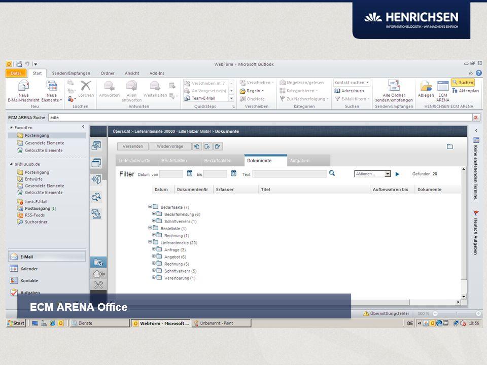ECM ARENA Office Ablagestruktur Einfache Suche