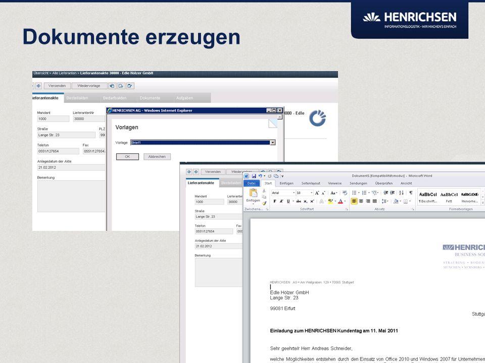 Über die Vorlagenbibliothek können neue Dokumente erzeugt werden. Metadaten wie z.B. Adressen oder Bearbeiter können bei der Erzeugung des Dokuments a