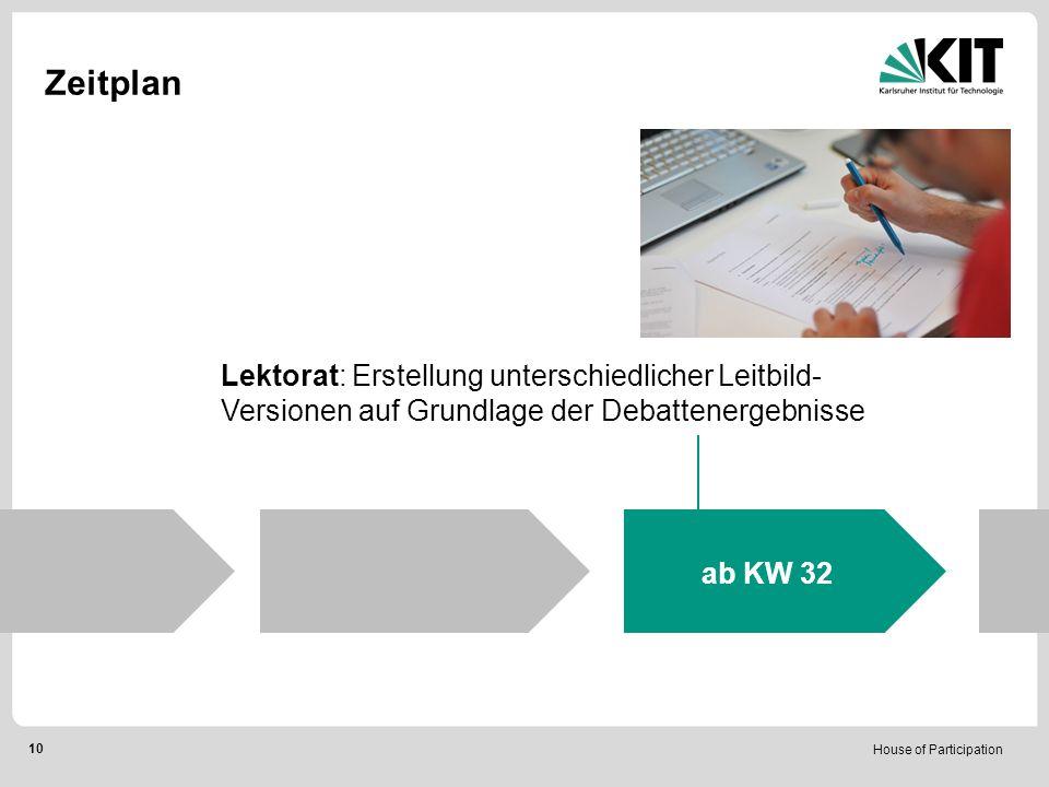 House of Participation 10 Zeitplan Lektorat: Erstellung unterschiedlicher Leitbild- Versionen auf Grundlage der Debattenergebnisse ab KW 32