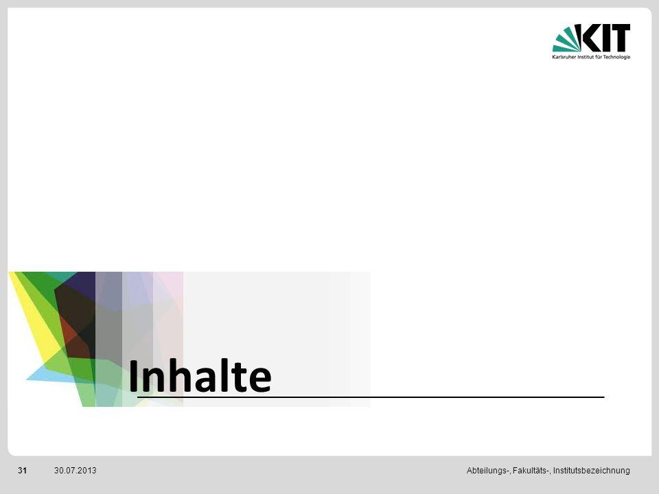 Abteilungs-, Fakultäts-, Institutsbezeichnung3130.07.2013 Inhalte