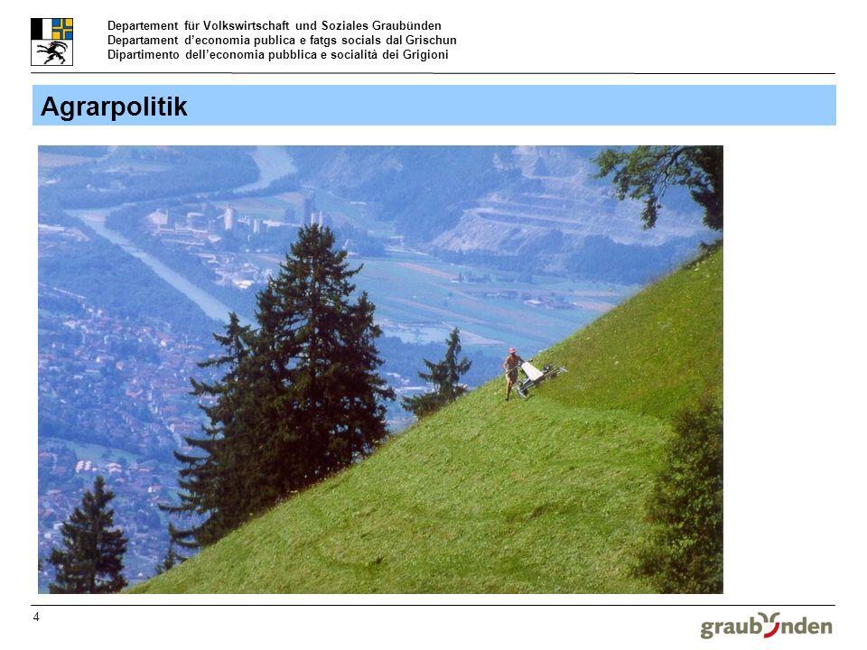 Departement für Volkswirtschaft und Soziales Graubünden Departament deconomia publica e fatgs socials dal Grischun Dipartimento delleconomia pubblica e socialità dei Grigioni 4 Agrarpolitik