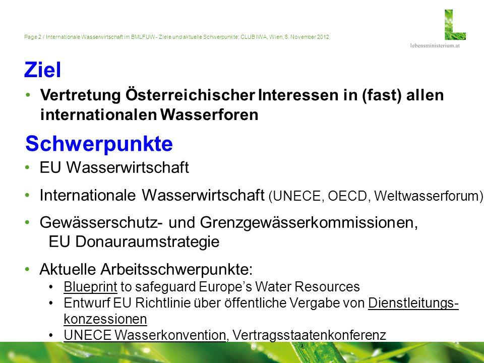 Page 2 / Internationale Wasserwirtschaft im BMLFUW - Ziele und aktuelle Schwerpunkte; CLUB IWA, Wien, 6. November 2012 Ziel Vertretung Österreichische