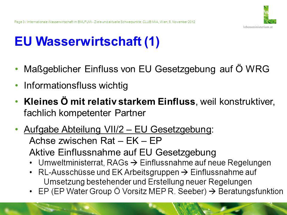 Page 3 / Internationale Wasserwirtschaft im BMLFUW - Ziele und aktuelle Schwerpunkte; CLUB IWA, Wien, 6. November 2012 EU Wasserwirtschaft (1) Maßgebl