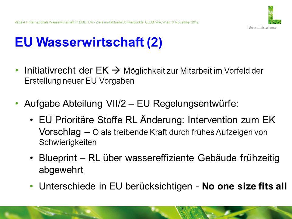 Page 4 / Internationale Wasserwirtschaft im BMLFUW - Ziele und aktuelle Schwerpunkte; CLUB IWA, Wien, 6. November 2012 EU Wasserwirtschaft (2) Initiat
