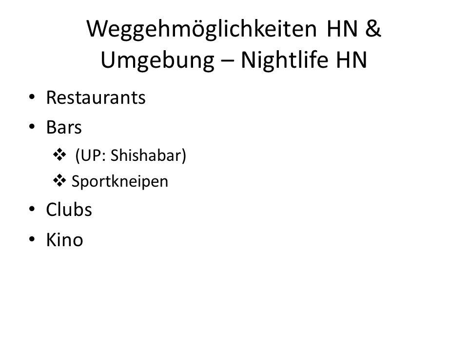 Weggehmöglichkeiten HN & Umgebung – Nightlife HN Restaurants Bars (UP: Shishabar) Sportkneipen Clubs Kino
