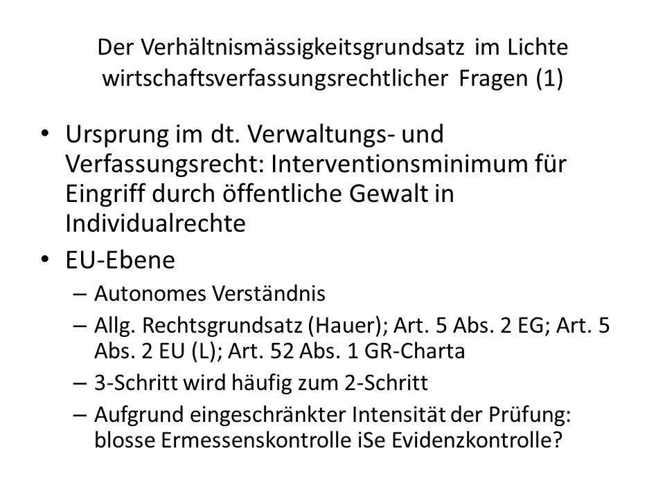 Der Verhältnismässigkeitsgrundsatz im Lichte wirtschaftsverfassungsrechtlicher Fragen (1) Ursprung im dt. Verwaltungs- und Verfassungsrecht: Intervent