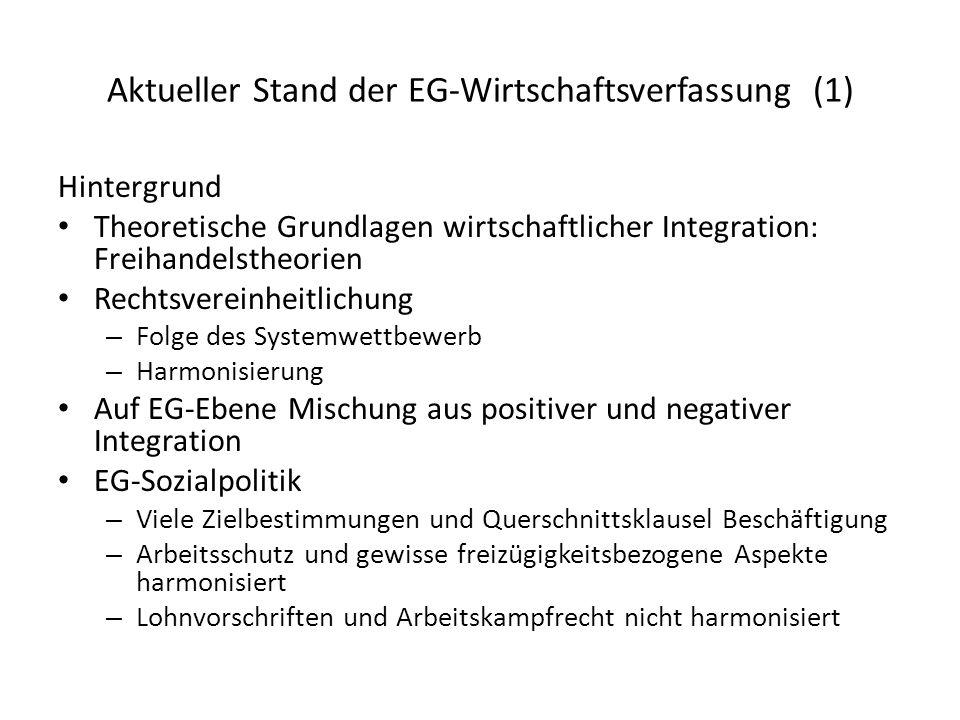 Aktueller Stand der EG-Wirtschaftsverfassung (1) Hintergrund Theoretische Grundlagen wirtschaftlicher Integration: Freihandelstheorien Rechtsvereinhei