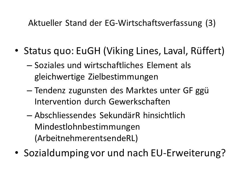 Aktueller Stand der EG-Wirtschaftsverfassung (3) Status quo: EuGH (Viking Lines, Laval, Rüffert) – Soziales und wirtschaftliches Element als gleichwertige Zielbestimmungen – Tendenz zugunsten des Marktes unter GF ggü Intervention durch Gewerkschaften – Abschliessendes SekundärR hinsichtlich Mindestlohnbestimmungen (ArbeitnehmerentsendeRL) Sozialdumping vor und nach EU-Erweiterung?