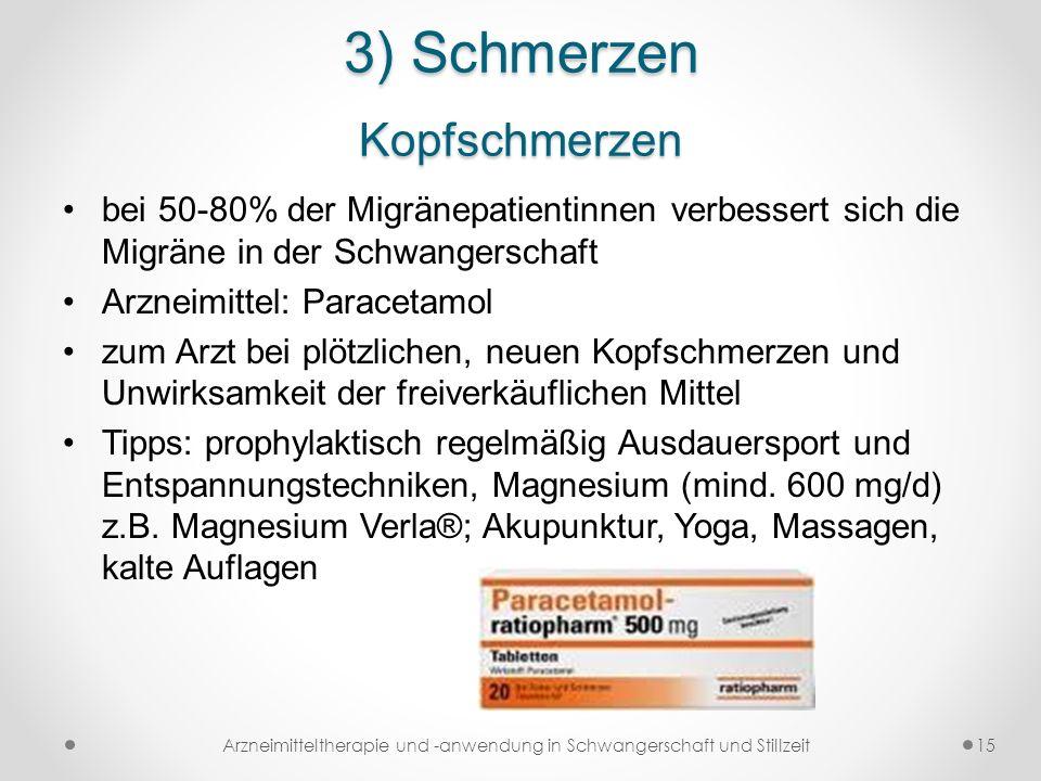 3) Schmerzen Kopfschmerzen bei 50-80% der Migränepatientinnen verbessert sich die Migräne in der Schwangerschaft Arzneimittel: Paracetamol zum Arzt be