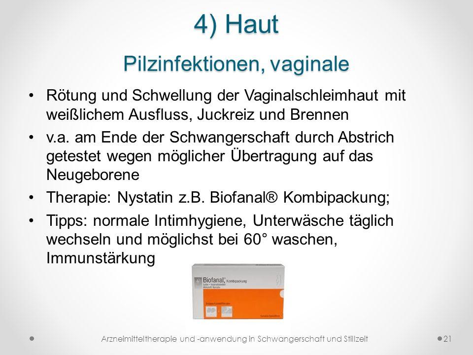 4) Haut Pilzinfektionen, vaginale Rötung und Schwellung der Vaginalschleimhaut mit weißlichem Ausfluss, Juckreiz und Brennen v.a. am Ende der Schwange