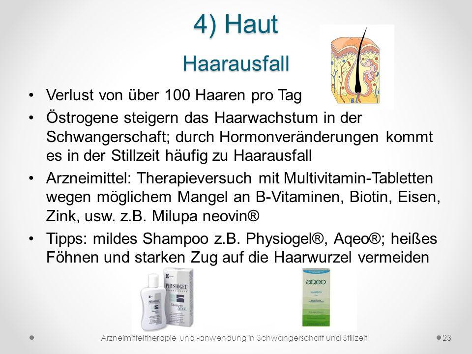 4) Haut Haarausfall Verlust von über 100 Haaren pro Tag Östrogene steigern das Haarwachstum in der Schwangerschaft; durch Hormonveränderungen kommt es