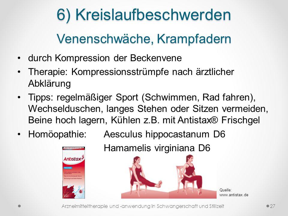 6) Kreislaufbeschwerden Venenschwäche, Krampfadern durch Kompression der Beckenvene Therapie: Kompressionsstrümpfe nach ärztlicher Abklärung Tipps: re