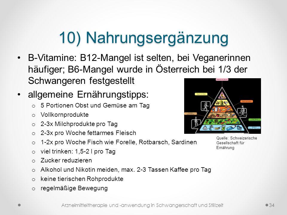 10) Nahrungsergänzung B-Vitamine: B12-Mangel ist selten, bei Veganerinnen häufiger; B6-Mangel wurde in Österreich bei 1/3 der Schwangeren festgestellt