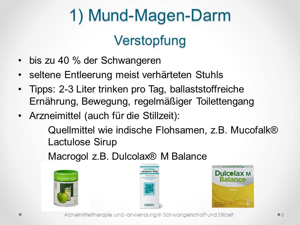 1) Mund-Magen-Darm Verstopfung bis zu 40 % der Schwangeren seltene Entleerung meist verhärteten Stuhls Tipps: 2-3 Liter trinken pro Tag, ballaststoffr