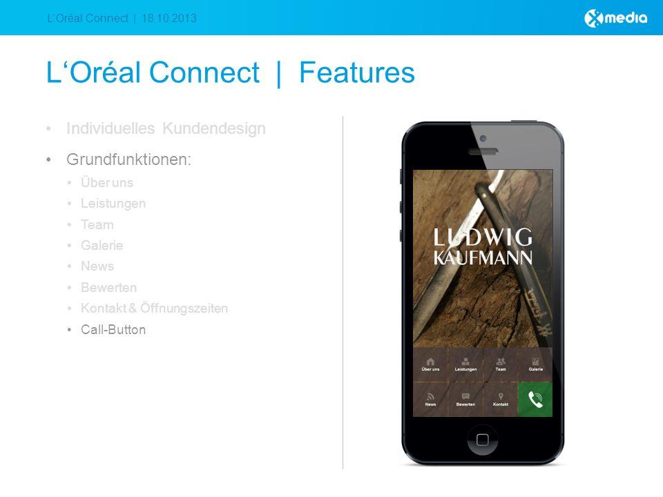 LOréal Connect | 18.10.2013 LOréal Connect | Features Individuelles Kundendesign Grundfunktionen: Über uns Leistungen Team Galerie News Bewerten Kontakt & Öffnungszeiten Call-Button
