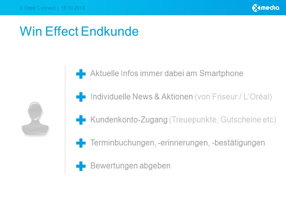 LOréal Connect | 18.10.2013 Win Effect Endkunde Aktuelle Infos immer dabei am Smartphone Individuelle News & Aktionen (von Friseur / LOréal) Kundenkonto-Zugang (Treuepunkte, Gutscheine etc) Terminbuchungen, -erinnerungen, -bestätigungen Bewertungen abgeben
