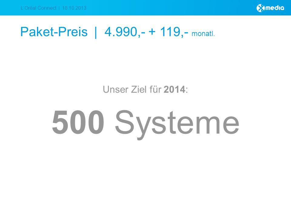 LOréal Connect | 18.10.2013 Paket-Preis | 4.990,- + 119,- monatl. Unser Ziel für 2014: 500 Systeme