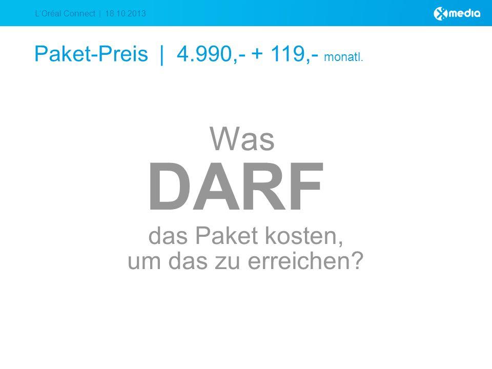 LOréal Connect | 18.10.2013 Paket-Preis | 4.990,- + 119,- monatl.