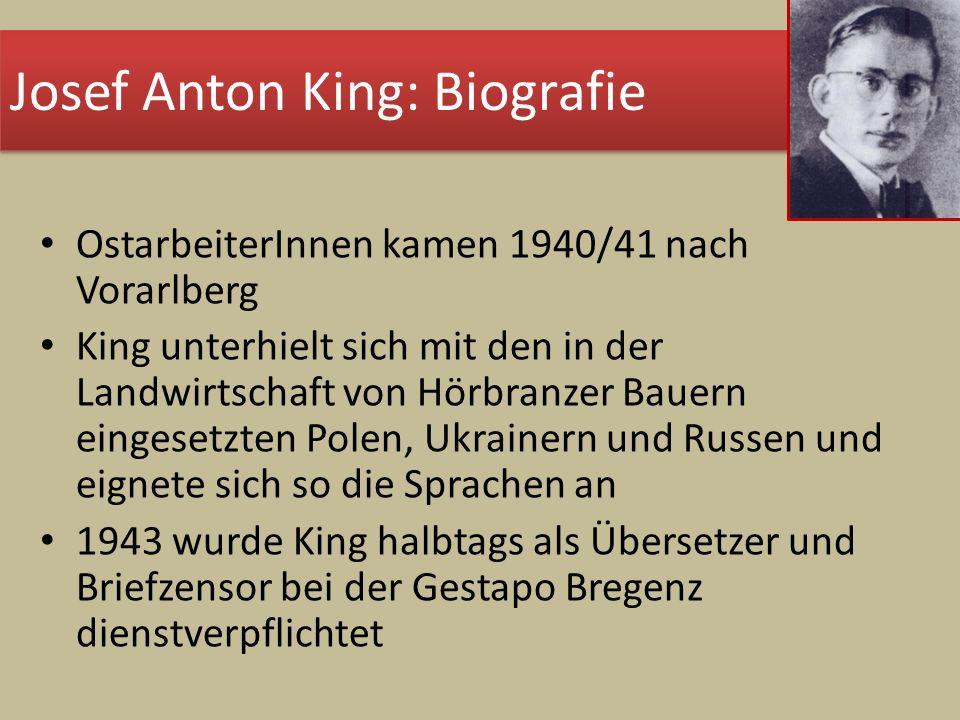 OstarbeiterInnen kamen 1940/41 nach Vorarlberg King unterhielt sich mit den in der Landwirtschaft von Hörbranzer Bauern eingesetzten Polen, Ukrainern