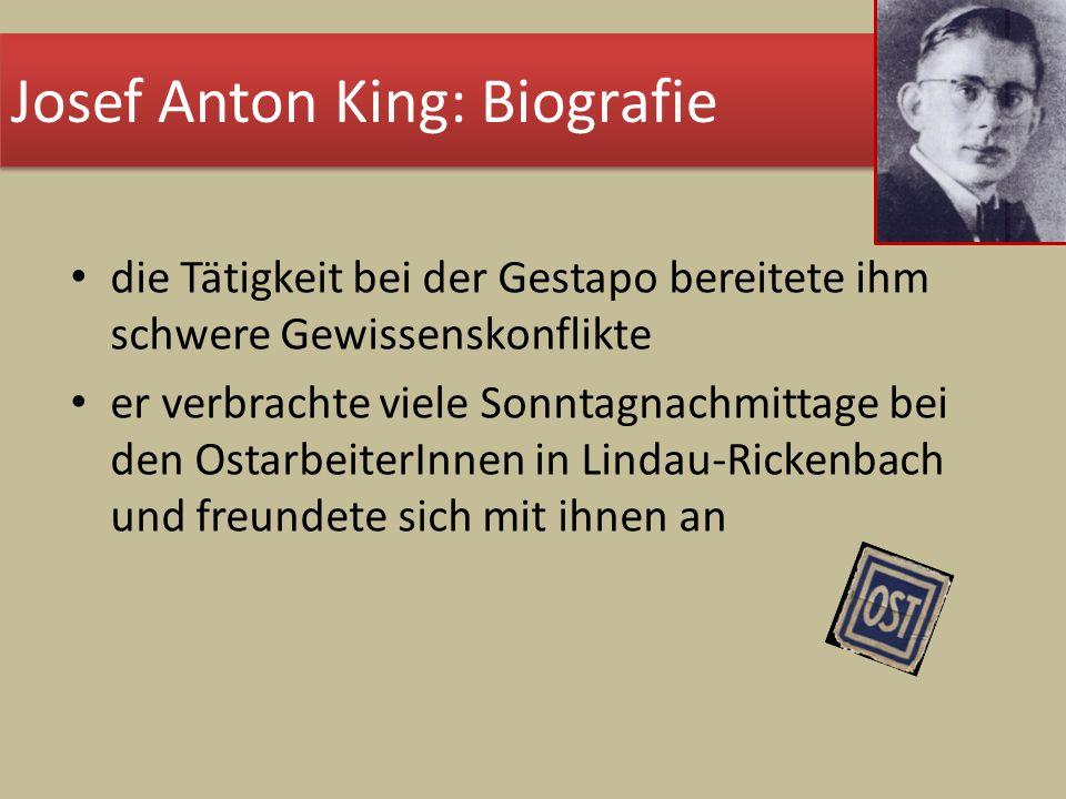 die Tätigkeit bei der Gestapo bereitete ihm schwere Gewissenskonflikte er verbrachte viele Sonntagnachmittage bei den OstarbeiterInnen in Lindau-Ricke