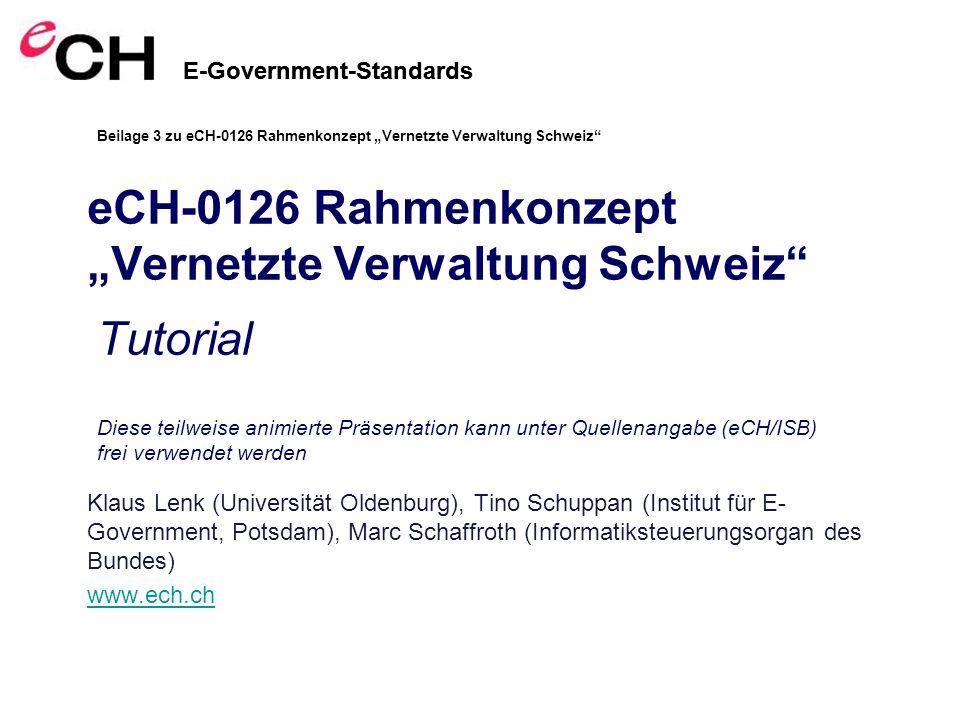 E-Government-Standards eCH-0126 Rahmenkonzept Vernetzte Verwaltung Schweiz Klaus Lenk (Universität Oldenburg), Tino Schuppan (Institut für E- Government, Potsdam), Marc Schaffroth (Informatiksteuerungsorgan des Bundes) www.ech.ch E-Government-Standards Diese teilweise animierte Präsentation kann unter Quellenangabe (eCH/ISB) frei verwendet werden Tutorial Beilage 3 zu eCH-0126 Rahmenkonzept Vernetzte Verwaltung Schweiz