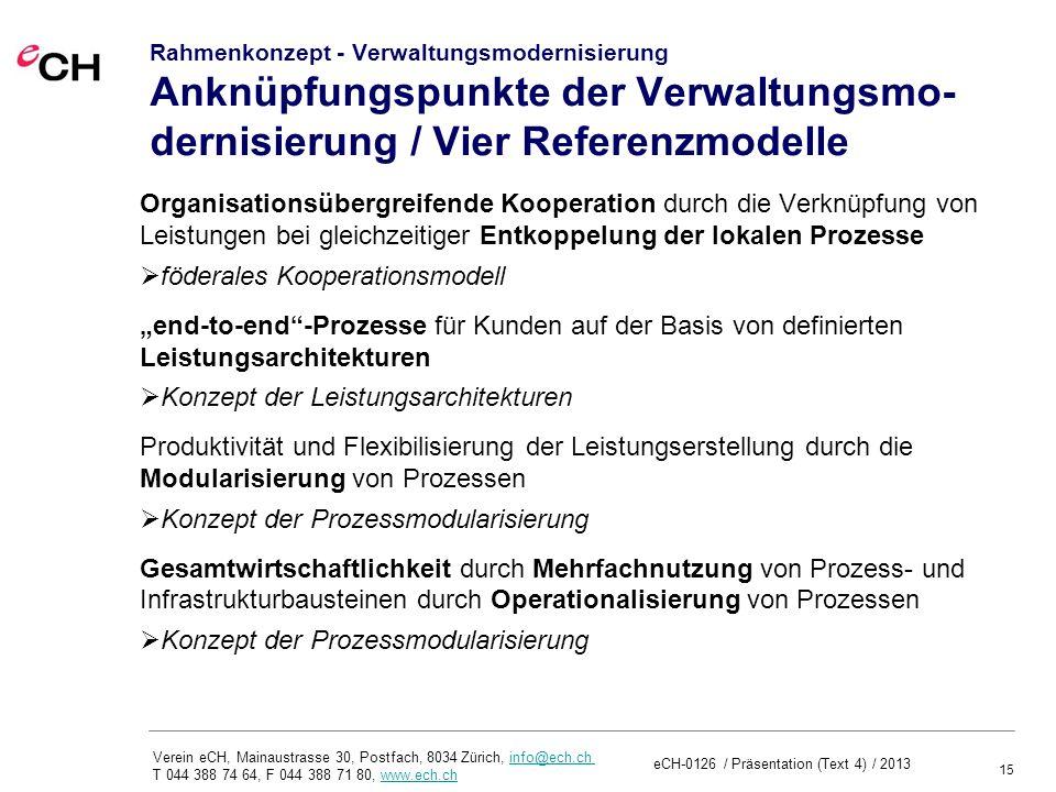 15 Verein eCH, Mainaustrasse 30, Postfach, 8034 Zürich, info@ech.ch T 044 388 74 64, F 044 388 71 80, www.ech.chinfo@ech.chwww.ech.ch Rahmenkonzept - Verwaltungsmodernisierung Anknüpfungspunkte der Verwaltungsmo- dernisierung / Vier Referenzmodelle Organisationsübergreifende Kooperation durch die Verknüpfung von Leistungen bei gleichzeitiger Entkoppelung der lokalen Prozesse föderales Kooperationsmodell end-to-end-Prozesse für Kunden auf der Basis von definierten Leistungsarchitekturen Konzept der Leistungsarchitekturen Produktivität und Flexibilisierung der Leistungserstellung durch die Modularisierung von Prozessen Konzept der Prozessmodularisierung Gesamtwirtschaftlichkeit durch Mehrfachnutzung von Prozess- und Infrastrukturbausteinen durch Operationalisierung von Prozessen Konzept der Prozessmodularisierung eCH-0126 / Präsentation (Text 4) / 2013