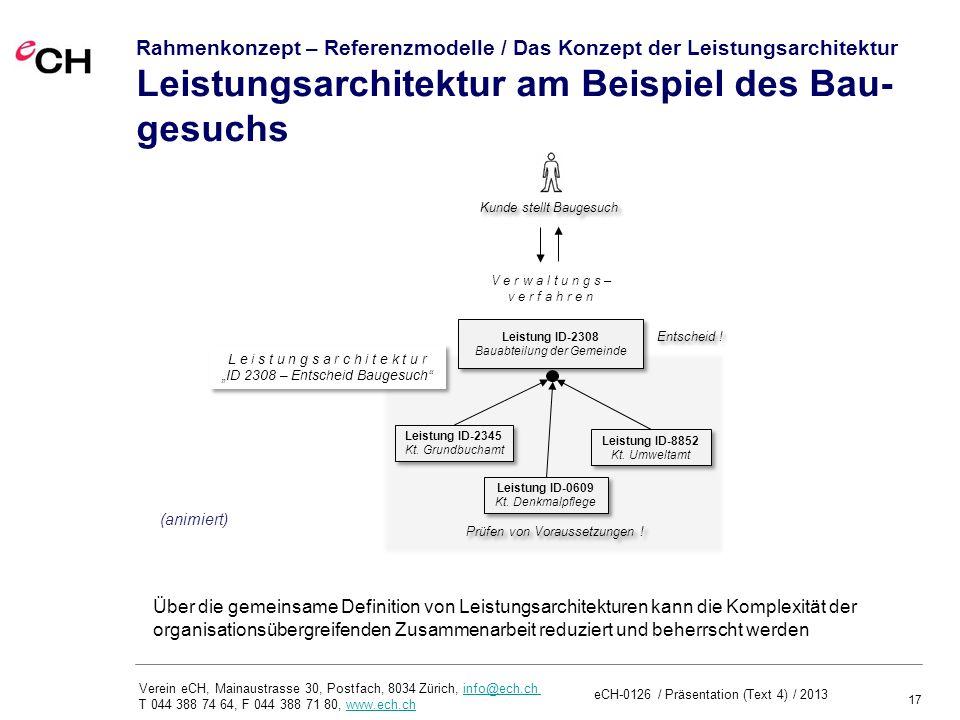 17 Verein eCH, Mainaustrasse 30, Postfach, 8034 Zürich, info@ech.ch T 044 388 74 64, F 044 388 71 80, www.ech.chinfo@ech.chwww.ech.ch Rahmenkonzept – Referenzmodelle / Das Konzept der Leistungsarchitektur Leistungsarchitektur am Beispiel des Bau- gesuchs Leistung ID-0609 Kt.