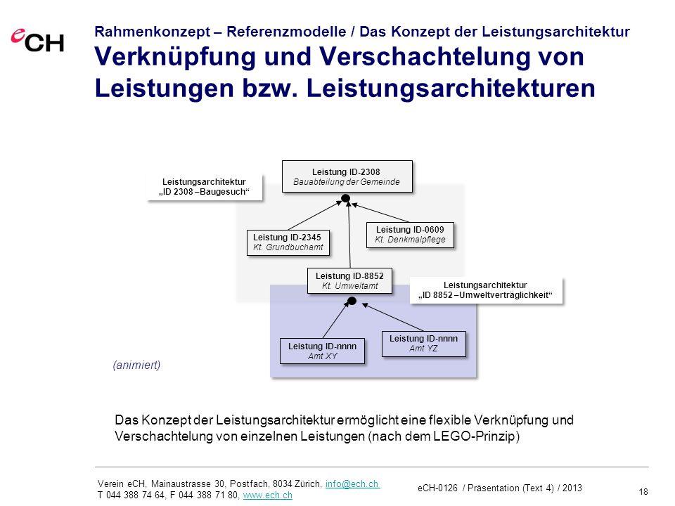 18 Verein eCH, Mainaustrasse 30, Postfach, 8034 Zürich, info@ech.ch T 044 388 74 64, F 044 388 71 80, www.ech.chinfo@ech.chwww.ech.ch Rahmenkonzept – Referenzmodelle / Das Konzept der Leistungsarchitektur Verknüpfung und Verschachtelung von Leistungen bzw.