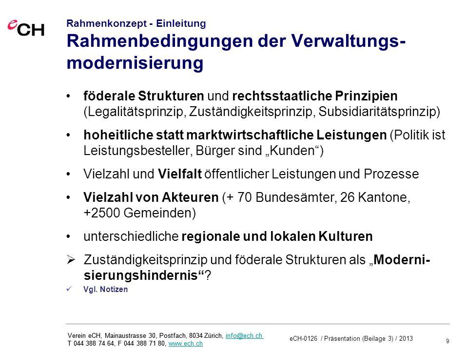 30 Verein eCH, Mainaustrasse 30, Postfach, 8034 Zürich, info@ech.ch T 044 388 74 64, F 044 388 71 80, www.ech.chinfo@ech.chwww.ech.ch Rahmenkonzept – Anhang eCH-Rahmenwerk zur einheitlichen Beschreibung von Aufgaben, Leistungen und Prozessen Merkmale Prozesse Leistungen Kunde Pensionskasse Antrag stellen Verfahren eröffnen Dossier aktualisieren Antrag bewilligen Antrag prüfen ++ ++ Amt f ü r Sozial - versicherungen Entscheid eröffnet Prozessdarstellung Basisdatendienste Vernetzte Verwaltung CH 1.Aufgaben- und 2.
