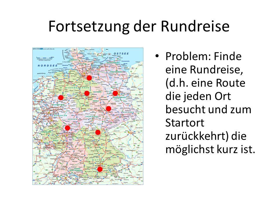 Fortsetzung der Rundreise Problem: Finde eine Rundreise, (d.h. eine Route die jeden Ort besucht und zum Startort zurückkehrt) die möglichst kurz ist.