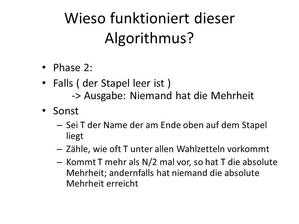 Wieso funktioniert dieser Algorithmus? Phase 2: Falls ( der Stapel leer ist ) -> Ausgabe: Niemand hat die Mehrheit Sonst – Sei T der Name der am Ende