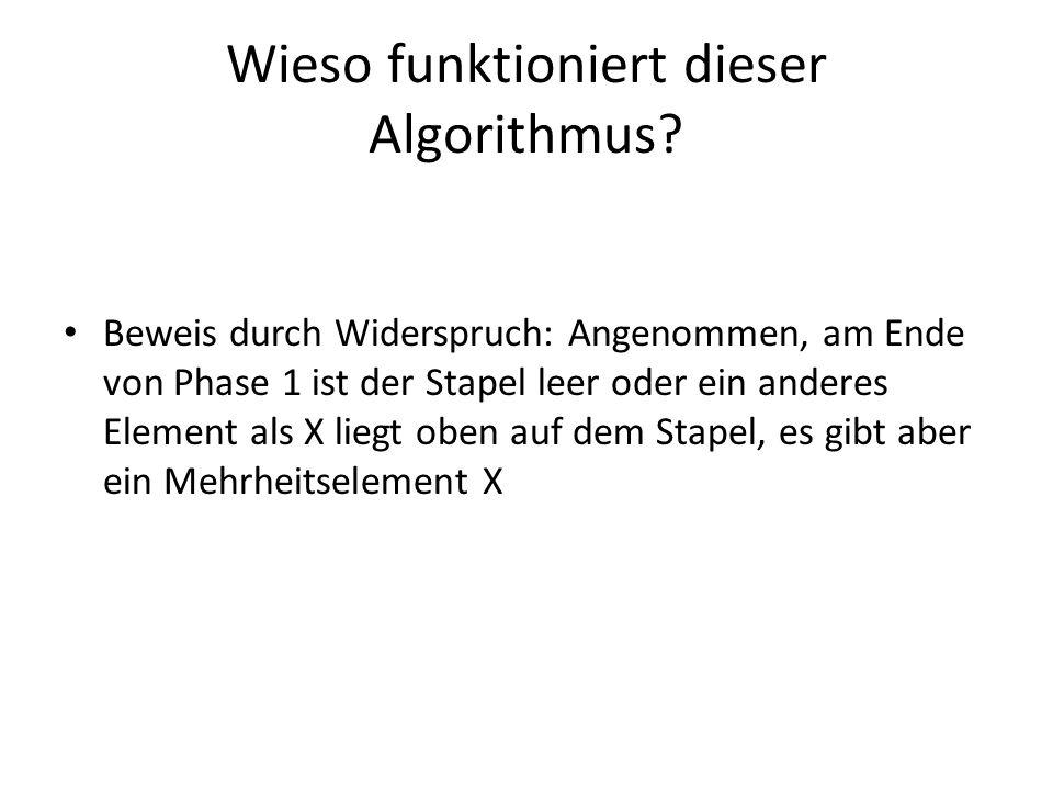 Wieso funktioniert dieser Algorithmus? Beweis durch Widerspruch: Angenommen, am Ende von Phase 1 ist der Stapel leer oder ein anderes Element als X li