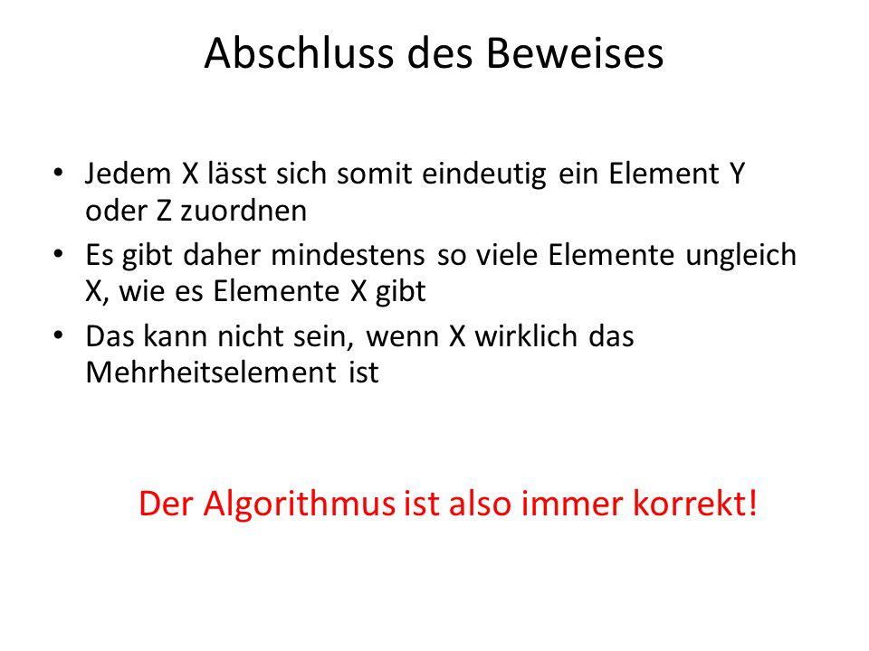 Abschluss des Beweises Jedem X lässt sich somit eindeutig ein Element Y oder Z zuordnen Es gibt daher mindestens so viele Elemente ungleich X, wie es