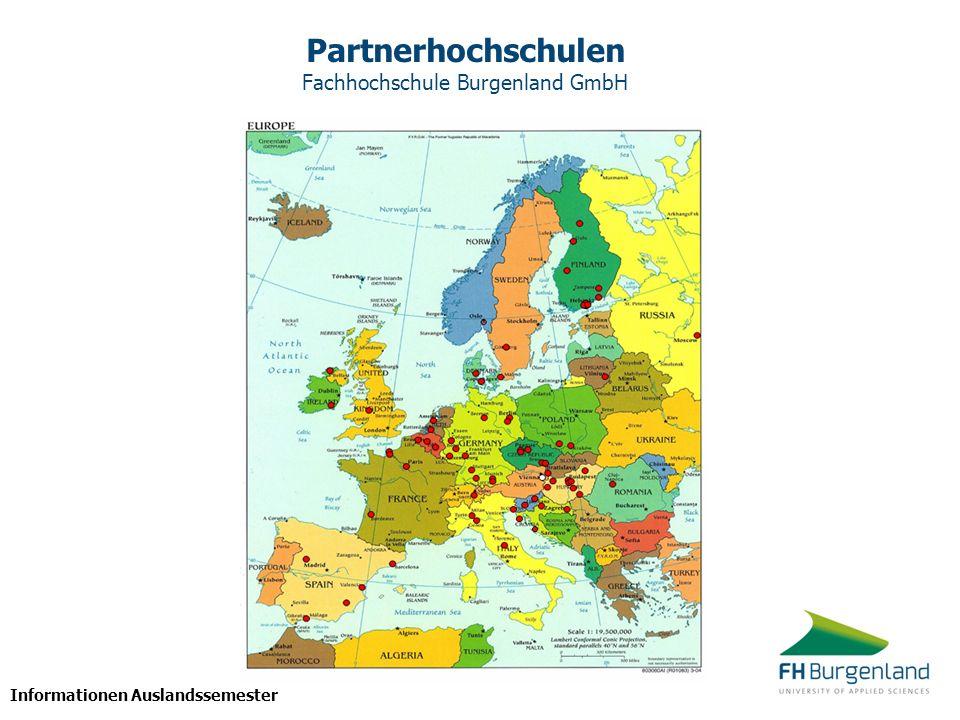 Informationen Auslandssemester Partnerhochschulen Fachhochschule Burgenland GmbH