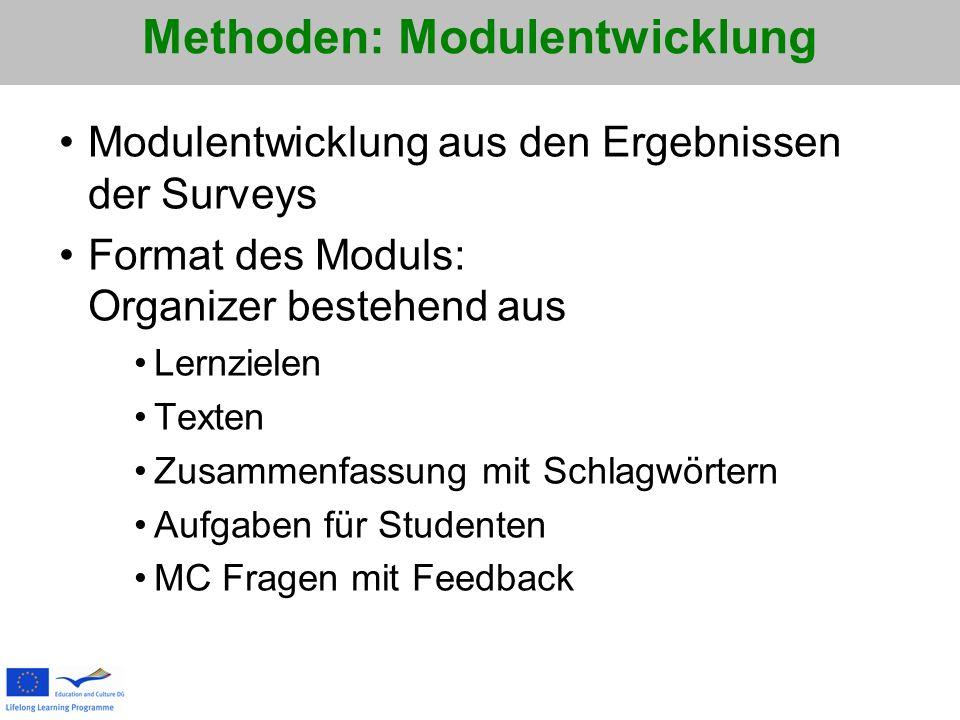 Methoden: Modulentwicklung Modulentwicklung aus den Ergebnissen der Surveys Format des Moduls: Organizer bestehend aus Lernzielen Texten Zusammenfassung mit Schlagwörtern Aufgaben für Studenten MC Fragen mit Feedback