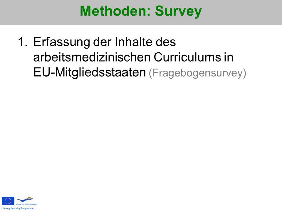 Methoden: Survey 1.Erfassung der Inhalte des arbeitsmedizinischen Curriculums in EU-Mitgliedsstaaten (Fragebogensurvey)
