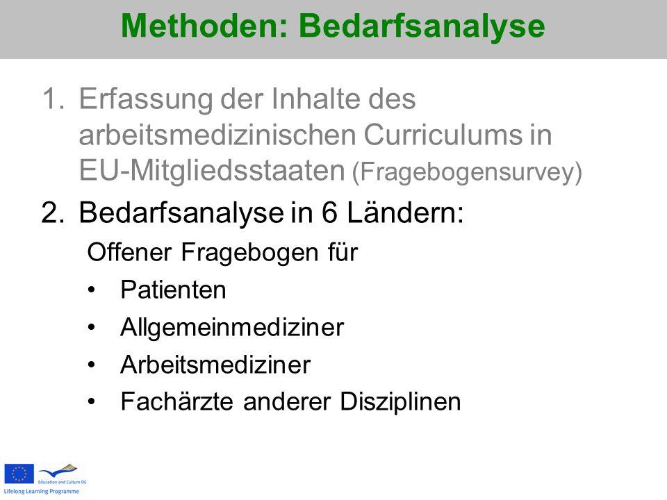 Methoden: Bedarfsanalyse 1.Erfassung der Inhalte des arbeitsmedizinischen Curriculums in EU-Mitgliedsstaaten (Fragebogensurvey) 2.Bedarfsanalyse in 6
