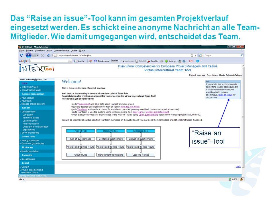 Das Raise an issue-Tool kann im gesamten Projektverlauf eingesetzt werden.
