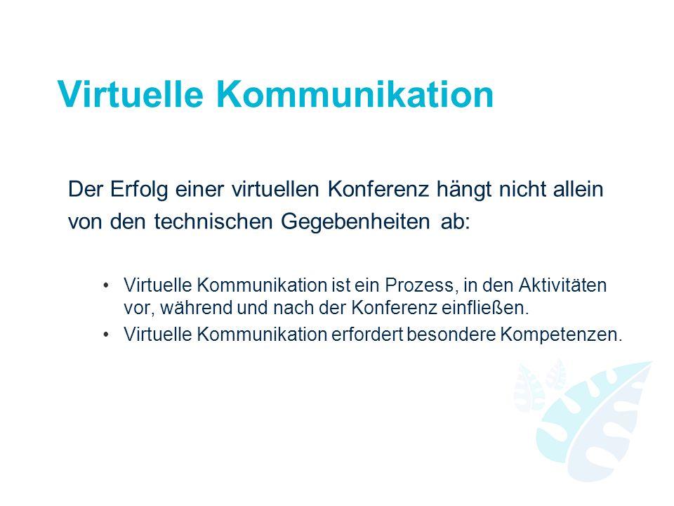Virtuelle Kommunikation Der Erfolg einer virtuellen Konferenz hängt nicht allein von den technischen Gegebenheiten ab: Virtuelle Kommunikation ist ein Prozess, in den Aktivitäten vor, während und nach der Konferenz einfließen.