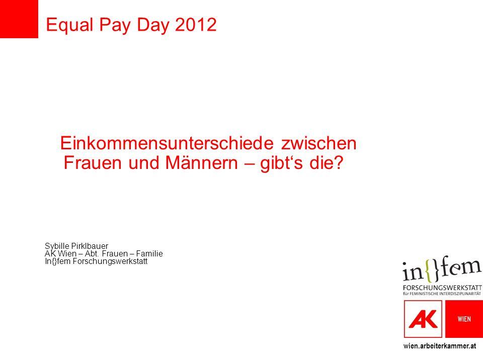 wien.arbeiterkammer.at Equal Pay Day 2012 Einkommensunterschiede zwischen Frauen und Männern – gibts die? Sybille Pirklbauer AK Wien – Abt. Frauen – F
