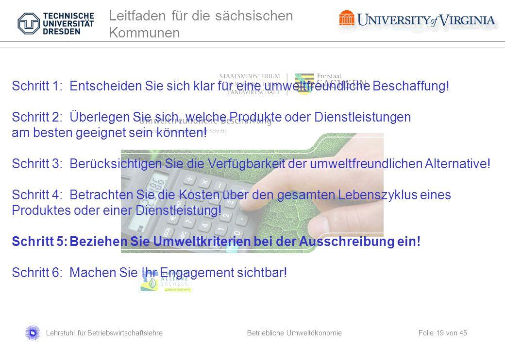 Lehrstuhl für Betriebswirtschaftslehre Folie 19 von 45 Leitfaden für die sächsischen Kommunen Schritt 1:Entscheiden Sie sich klar für eine umweltfreun