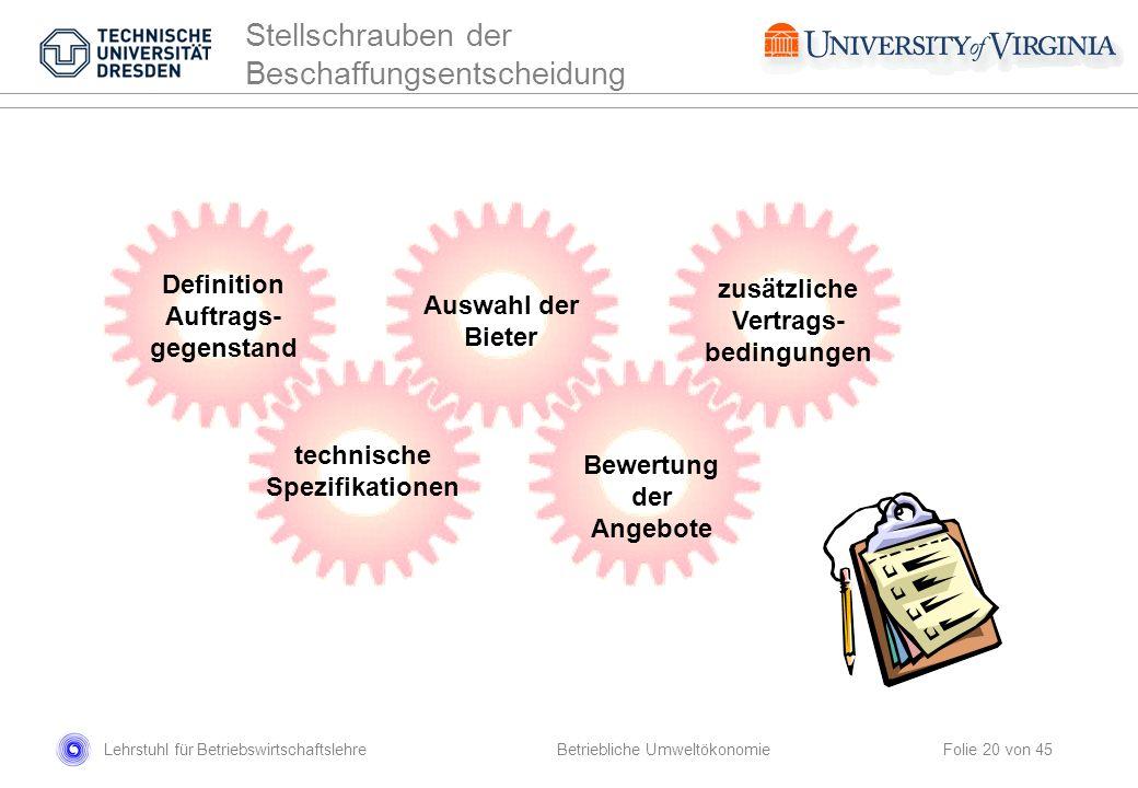 Lehrstuhl für Betriebswirtschaftslehre Folie 20 von 45 Definition Auftrags- gegenstand technische Spezifikationen Auswahl der Bieter Bewertung der Ang