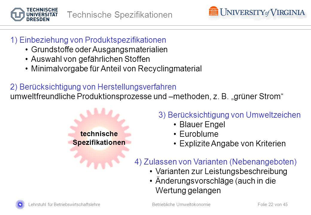 Lehrstuhl für Betriebswirtschaftslehre Folie 22 von 45 technische Spezifikationen 1) Einbeziehung von Produktspezifikationen Grundstoffe oder Ausgangs