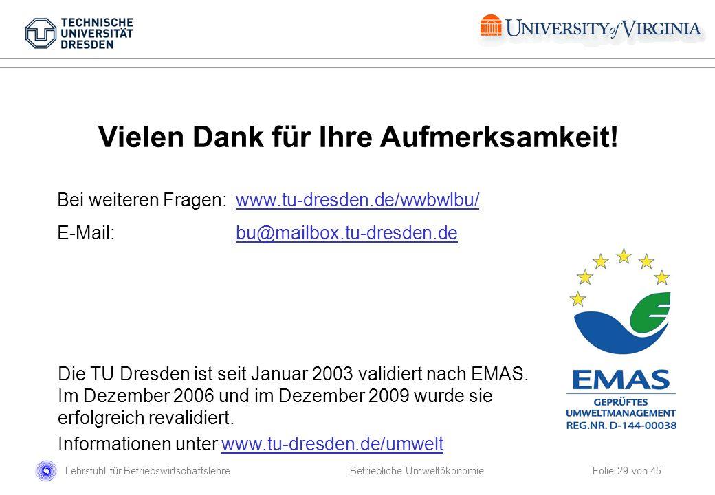 Lehrstuhl für Betriebswirtschaftslehre Folie 29 von 45 Betriebliche Umweltökonomie Die TU Dresden ist seit Januar 2003 validiert nach EMAS. Im Dezembe